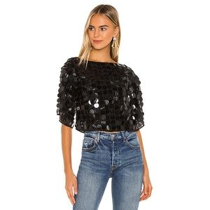 Lovers + Friends Shanna Top in Disco Black Large